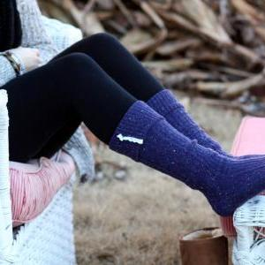 Knitted Purple Blue Boot socks, Win..