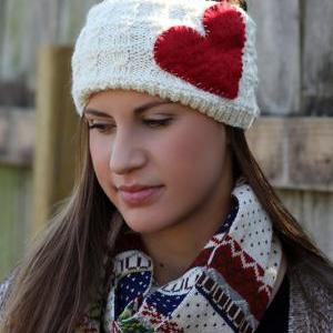 Red and White - Heart Headband, Whi..