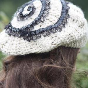 Beanie Hat- Black lace, Tan , Swirl..