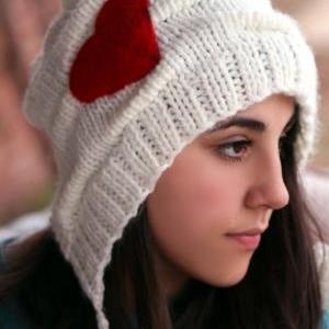 Knitted Hat- Red Heart, White hat, ..