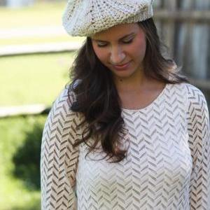 Beanie Hat- Light Tan, Ivory, Large..