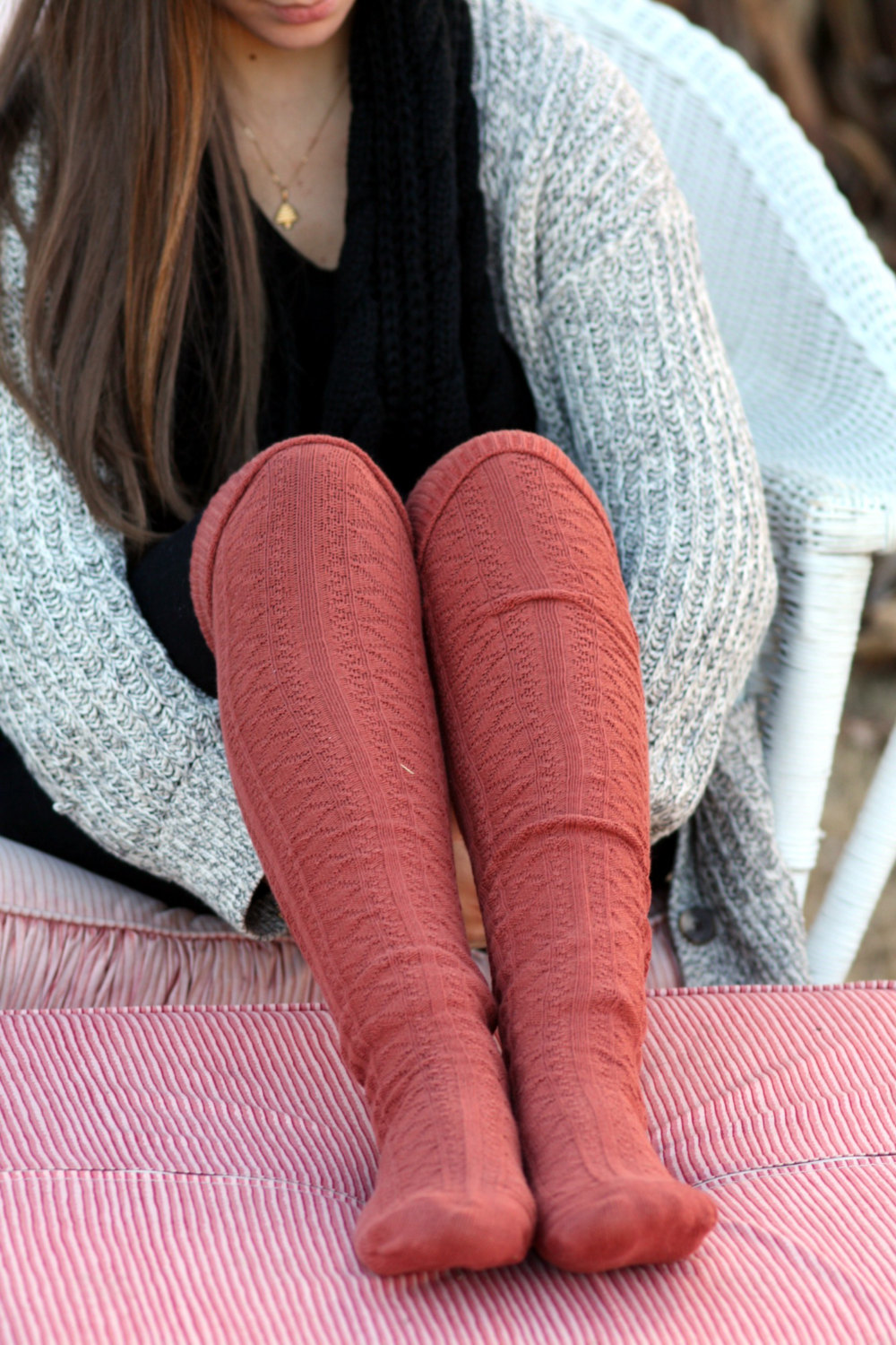 038218496d90b Above Knee Socks, Thick Cotton Socks, Extra Long Socks, Boot Socks,Burnt