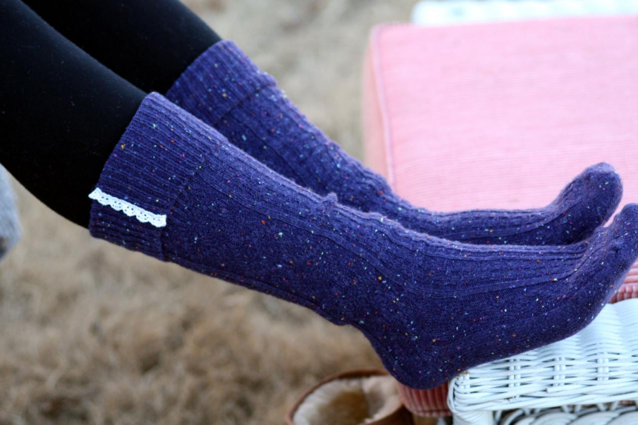 Knitted Purple Blue Boot socks, Winter socks, Knitted socks, Socks with lace, Socks with buttons, cozy socks,Uggs socks