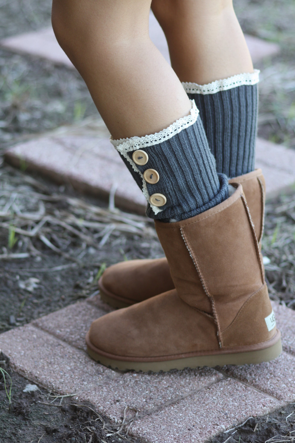 Boot Cuff Legwarmers - Vintage Lace, Boho, Knitted, Buttons , Over The Boot, Buttons, Cotton, Organic , Boot Cover, Socks, Crochet