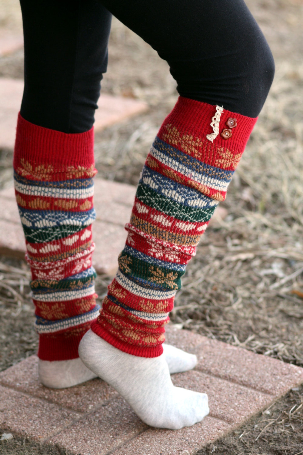 Limited Time Sale Women's Legwarmers - Boho,Christmas, snowflake, Boot Cover, Socks,Gift, Red Button