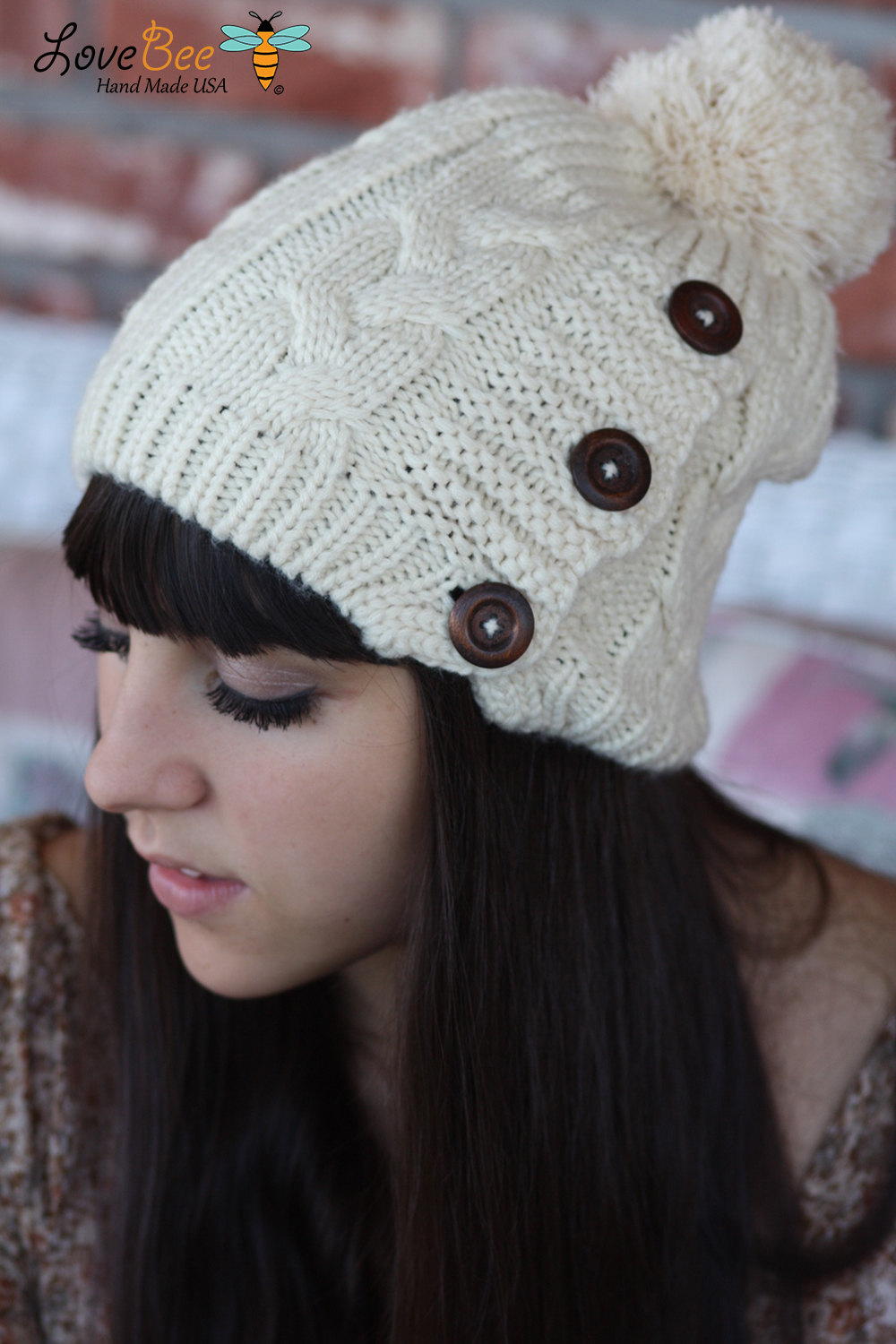Beanie Hat- , Ivory, Pom Pom , Wood buttons, Cable Knit, Knitted, Crochet, ivory lace, Christmas Gift.