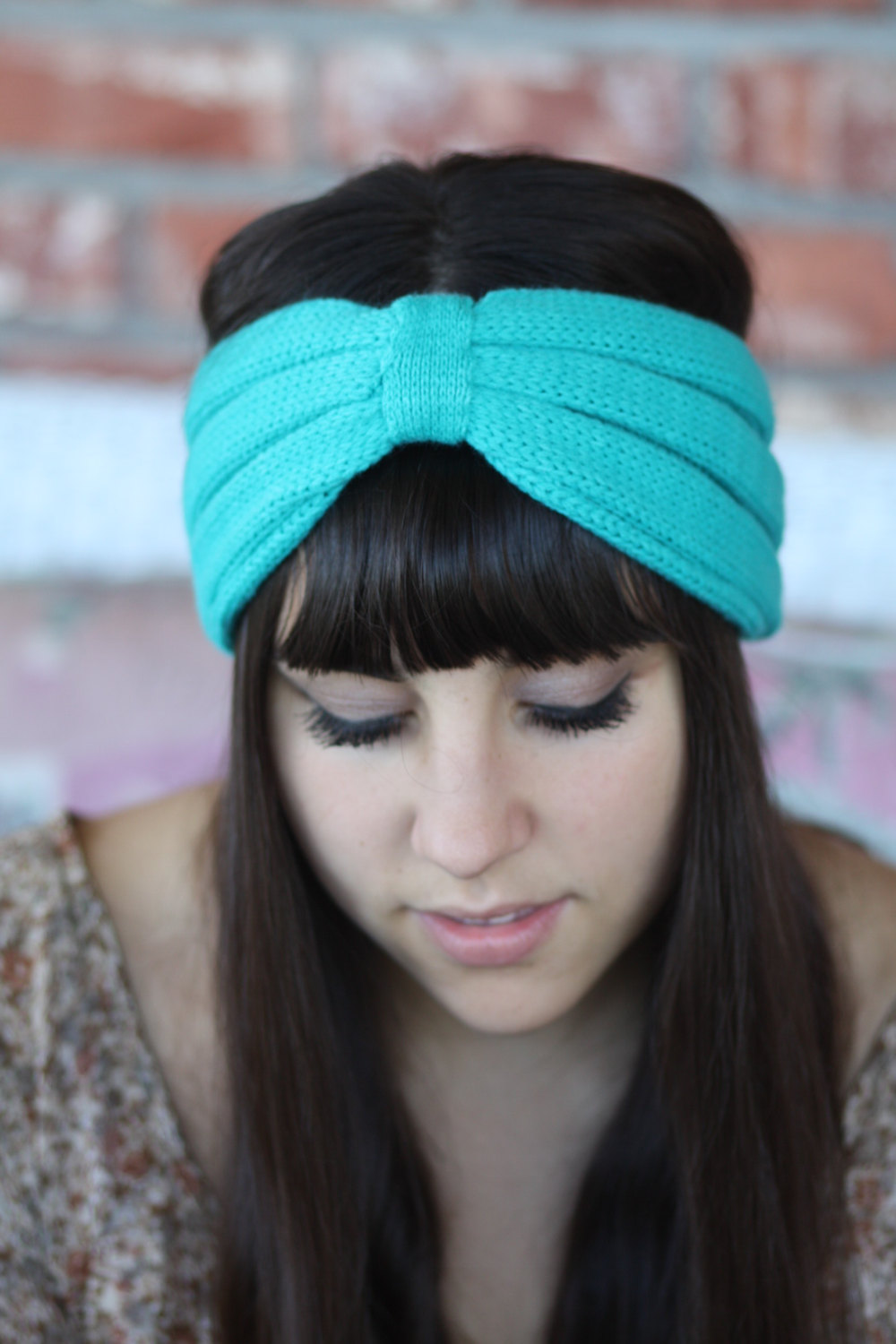 Headband -Turquoise, Blue, Sky, Knitted , infinity, Wide Headband, Turban, Christmas Gift