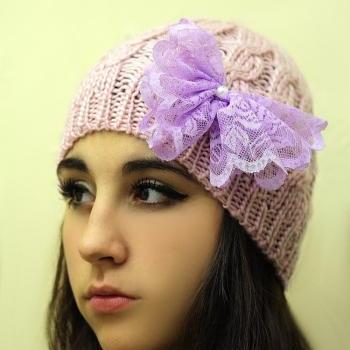 Lavender Bow Beanie Hat- Pink Hat, Smoky, lace bow , Cable Knit, Knitted, Crochet, Christmas Gift.