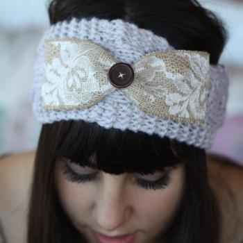 Sale Headband - Large Bow, Knitted , Cable Knit , Gray ,infinity, Wood Button, Lace, Linen,Wide Headband, Turban, Christmas Gift